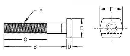 Under Head // 3//8 Table Slot A 1 Pc. 3//8-16 x 7 Lgth Tugger T-Bolts Te-Co Series 803 B